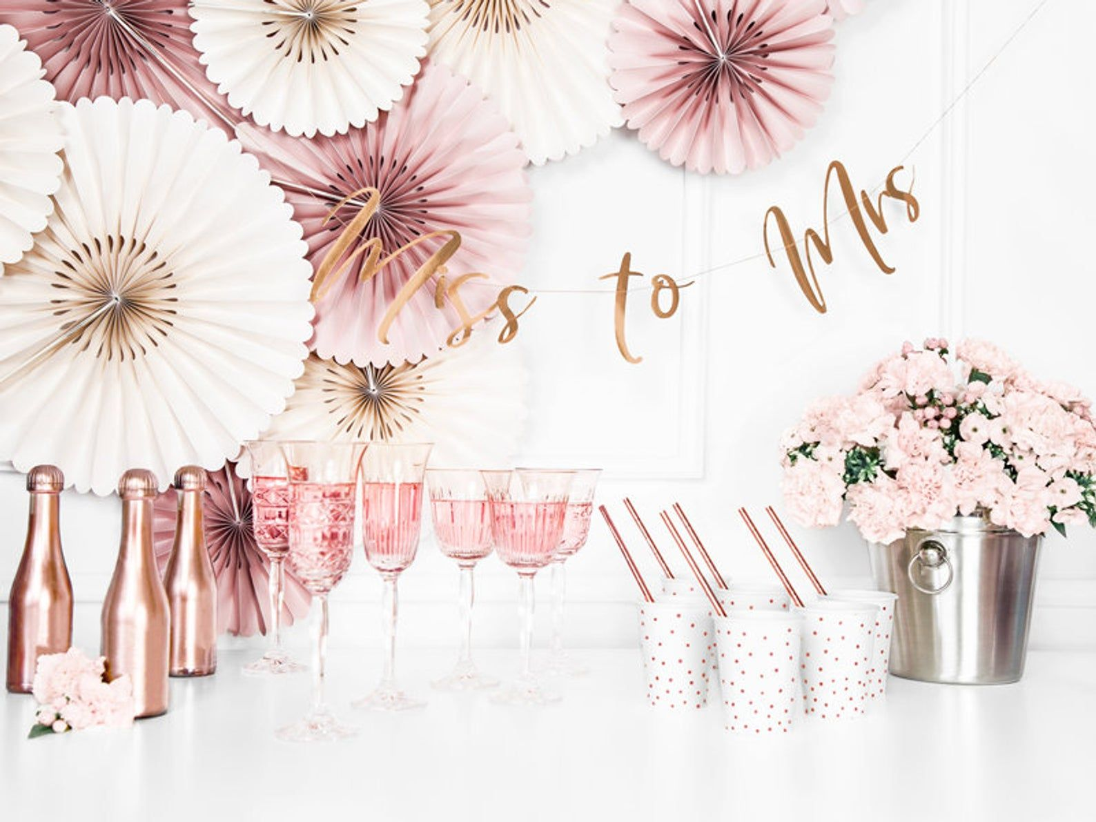 From Miss To Mrs Bunting Rose Gold Hen Party Bunting Hen Party