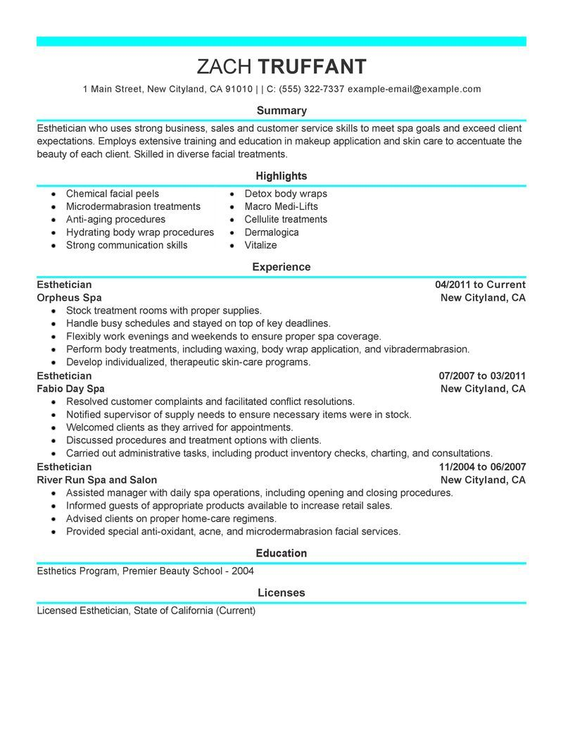 Exceptional Esthetician Resume Cover Letter Sample   Http://www.resumecareer.info/ Throughout Sample Esthetician Resume