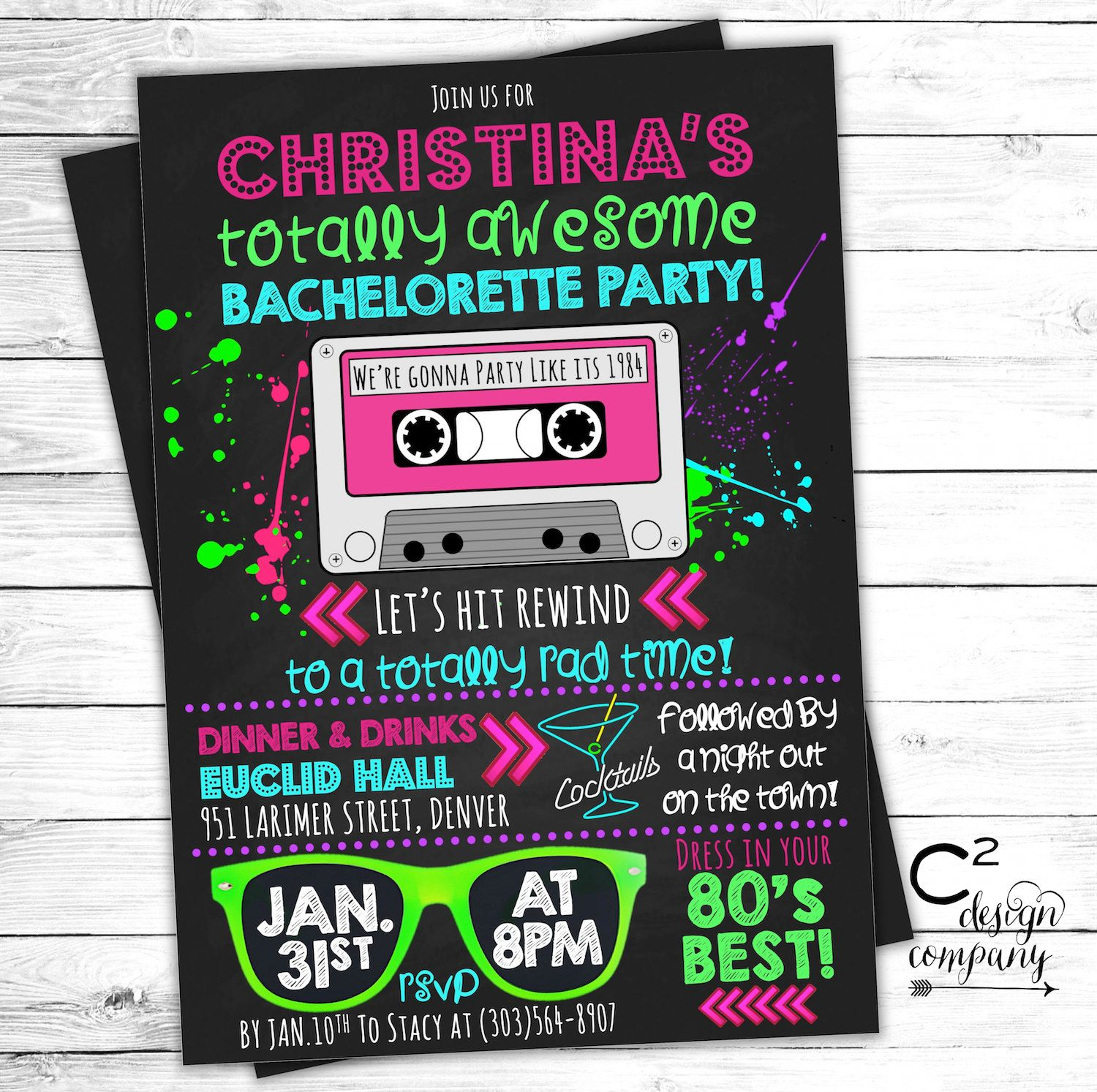 Totally Awesome Neon 80 s Bachelorette Invitation