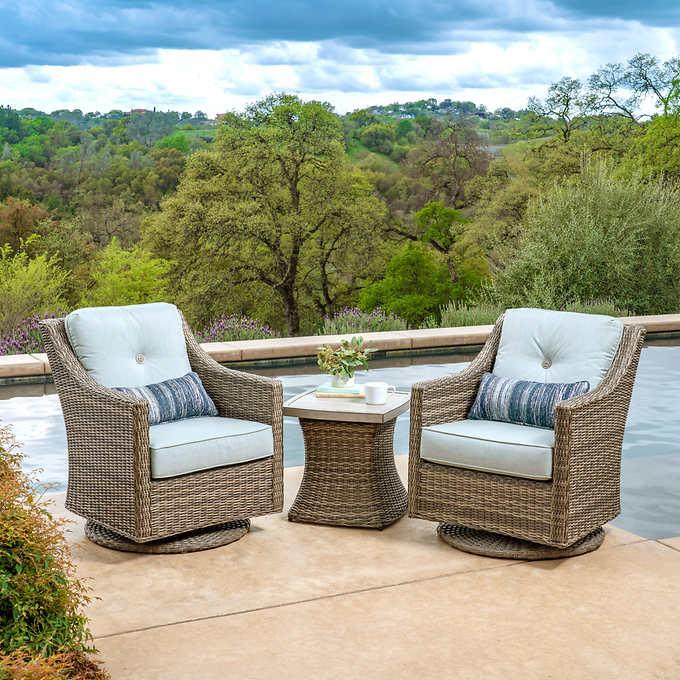 Sunvilla Lauren 3 Piece Woven Seating Set Outdoor Swivel Chair Conversation Set Patio Porch Furniture