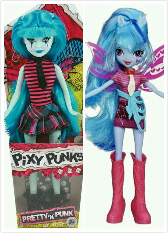 This is a picture of a cheap rip-off of Monster High and My Little Pony Equestria Girls doll line called Pixy Punk. I mean just look at it! This one looks like Sonata Dusk! Look at her hair, her wings, her shirt and tie and her skin tone! They just coloured some of her accesories slightly different!!! Share or re-post or repin anywhere if you agree! (PS:FYI, Pretty and Punk is also a name of one of the doll lines in Brtaz)