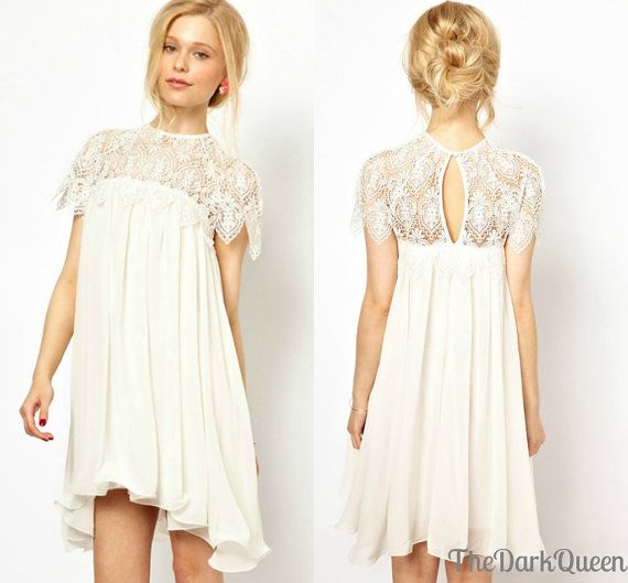Simple Hairstyle For Wedding Dinner: White Short Sleeve Dress Simple Casual By