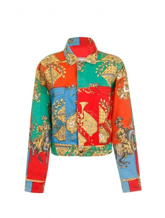 Vintage Gianni Versace Regal Jousting Print Denim Jacket As Seen In The Sigala Ella Eyre Music Video Came Versace Jacket Vintage Versace Vintage Denim Jacket