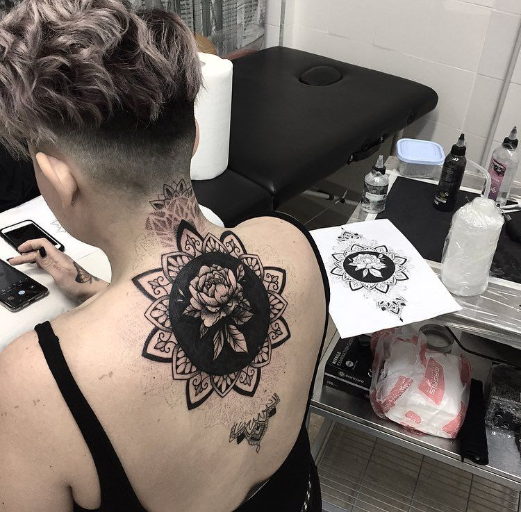 Work In Progress Tattoo Black Ornamental Cover Up Ornamental Tattoo With Peony And Dotwork Big Cover Up Thanks Black Tattoos Big Cover Up Tattoos Tattoos