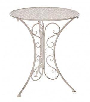 Tisch Perugia, rund, weiß-antik - Dieser dekorative Tisch im angesagten Vintage-Look ist genau das richtige für jeden Gartenromantiker.Material: MetallMarke: NANA