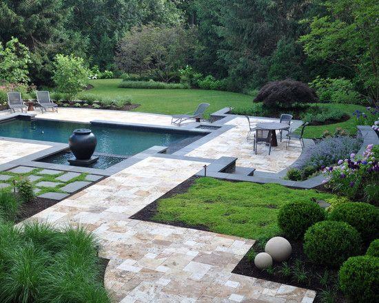 Gran Jardin Con Piscina Y Elegante Sendero Modern Landscaping