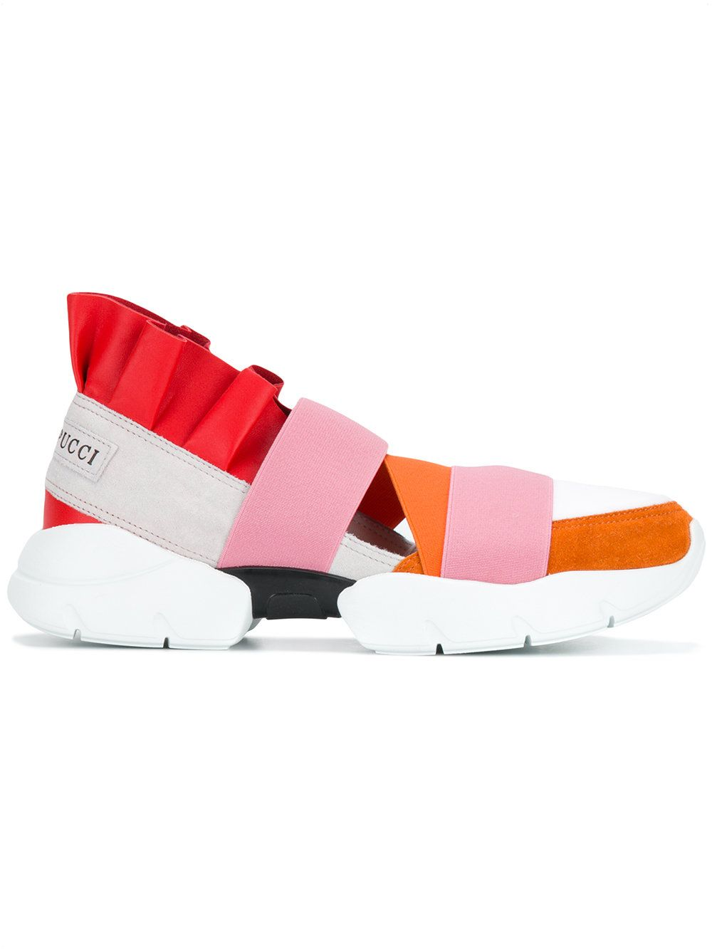 077502cc2ddd 30Mm Ruffled Suede   Leather Sneakers, Orange Pink Red   Emilio ...
