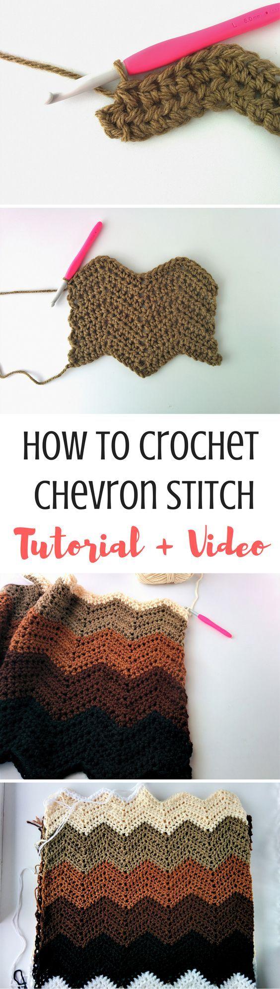 How to Crochet Chevron Stitch [Video + Written] | Tejido, Sombreros ...