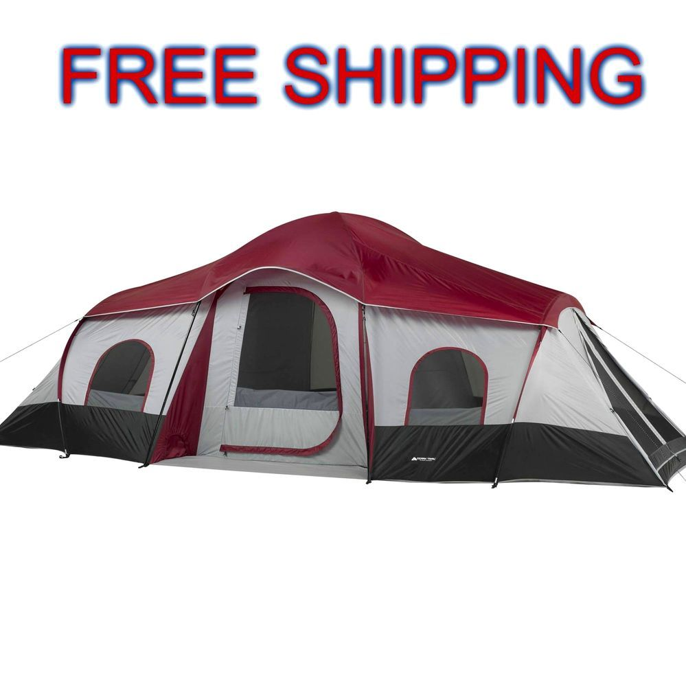 Cabin Tent Camping 10 Persons 3 Room Dividers Family Outdoor XL