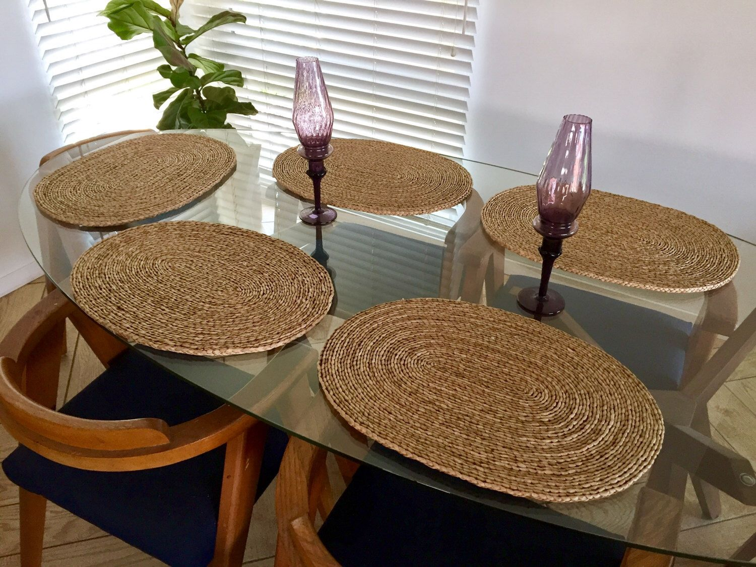 5 Wicker Placemats Set Of Oval Woven Rattan Shaped
