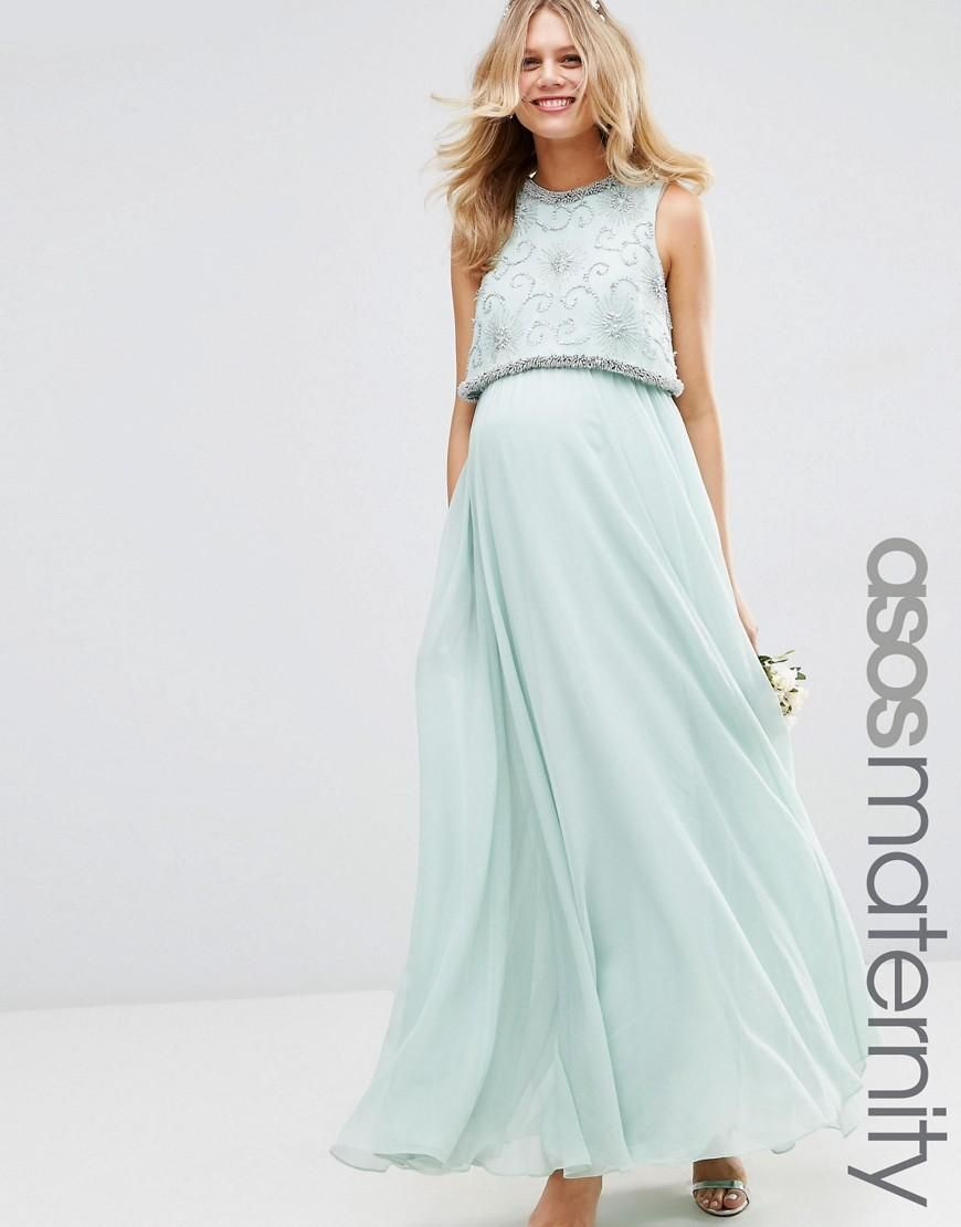 ASOS Maternity | ASOS Maternity WEDDING Embellished Crop Top Maxi ...