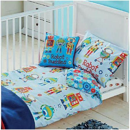 George Home Blue Robots Toddler Duvet Set Nursery Asda Direct Toddler Duvet Set Cot Bed Duvet Cover Cot Bedding