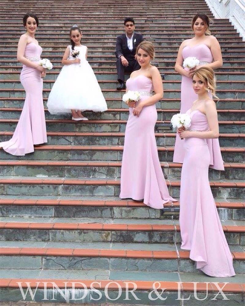 Purple Pink Mermaid Bridesmaid Dresses Strapless Beaded Waist 2016 ...