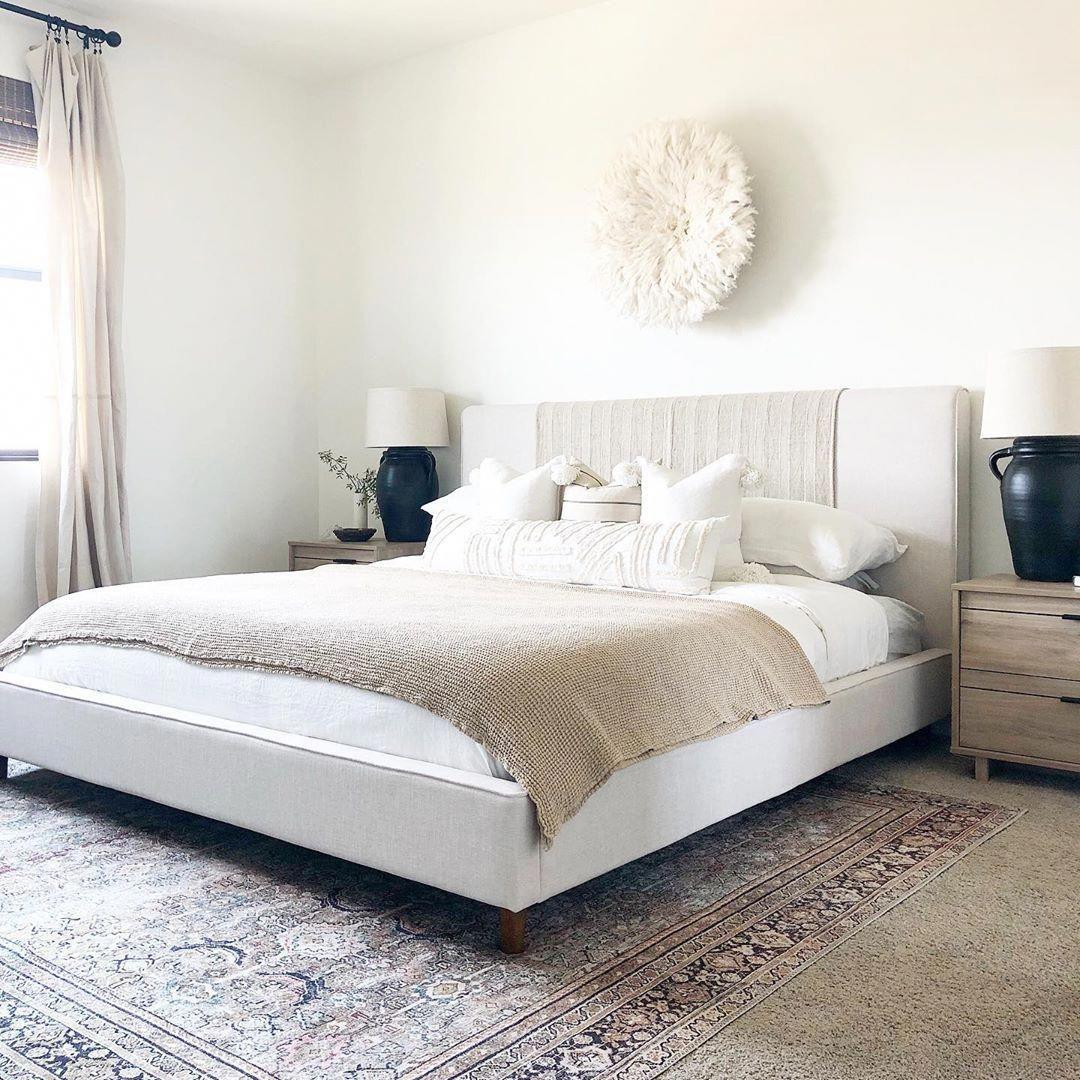 Dean Sand California King Upholstered Panel Bed Upholstered Bed Master Bedroom White Upholstered Bed Master Bedrooms Decor