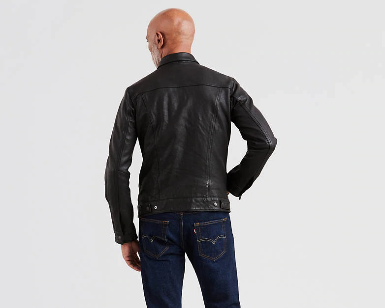 Leather Trucker Jacket Black Levi's® US Brown