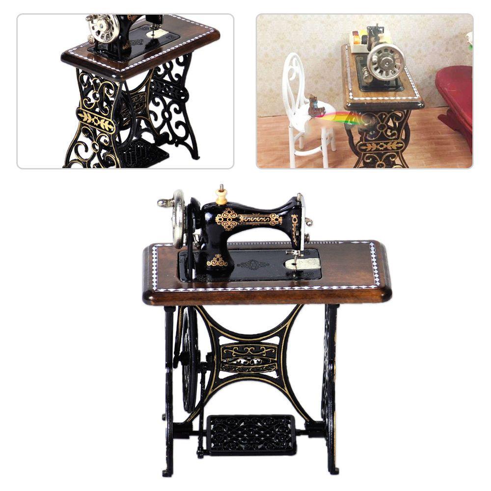 Vintage Dollhouse Miniature Furniture Sewing Machine 1//12 Scale Decor