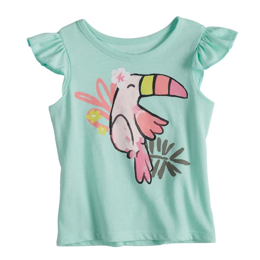 f6b31a404 Baby Girl Jumping Beans® Toucan Flutter Top, Size: 12 Months, Green