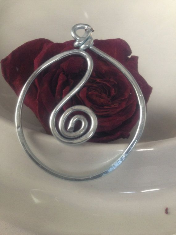 Silver Hammered Hoop Spiral Earrings by bodyexpressions on Etsy