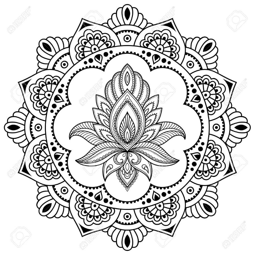 Un Patron Circular En Forma De Mandala Plantilla De La Flor Del Tatuaje De La Alhena En Estilo Indio Paisley Floral Etnico Lotus Estilo Mehndi Patron Deco Mandalas Hindues Mandalas