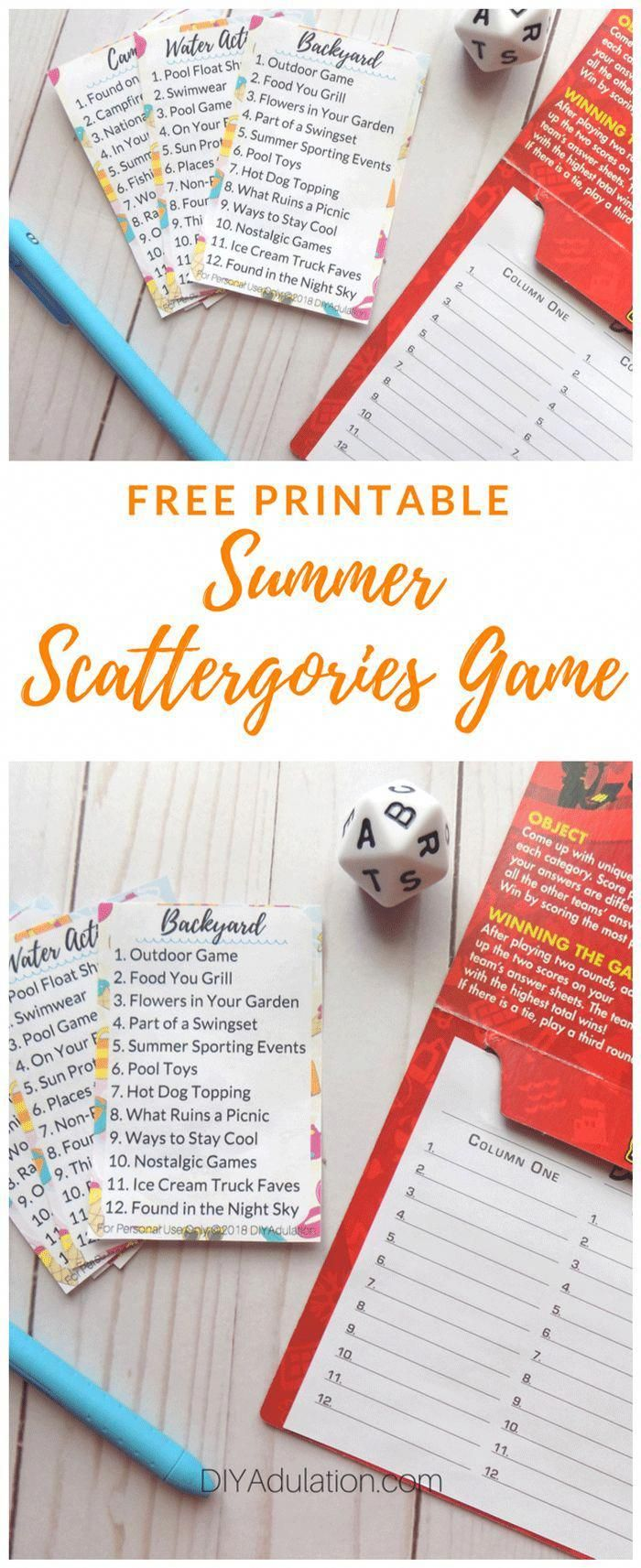 , Don't let rainy days ruin your family's summer fun. Cool down inside and stretch your brains with this free printable summer Scattergories game! #game…, MySummer Combin Blog, MySummer Combin Blog
