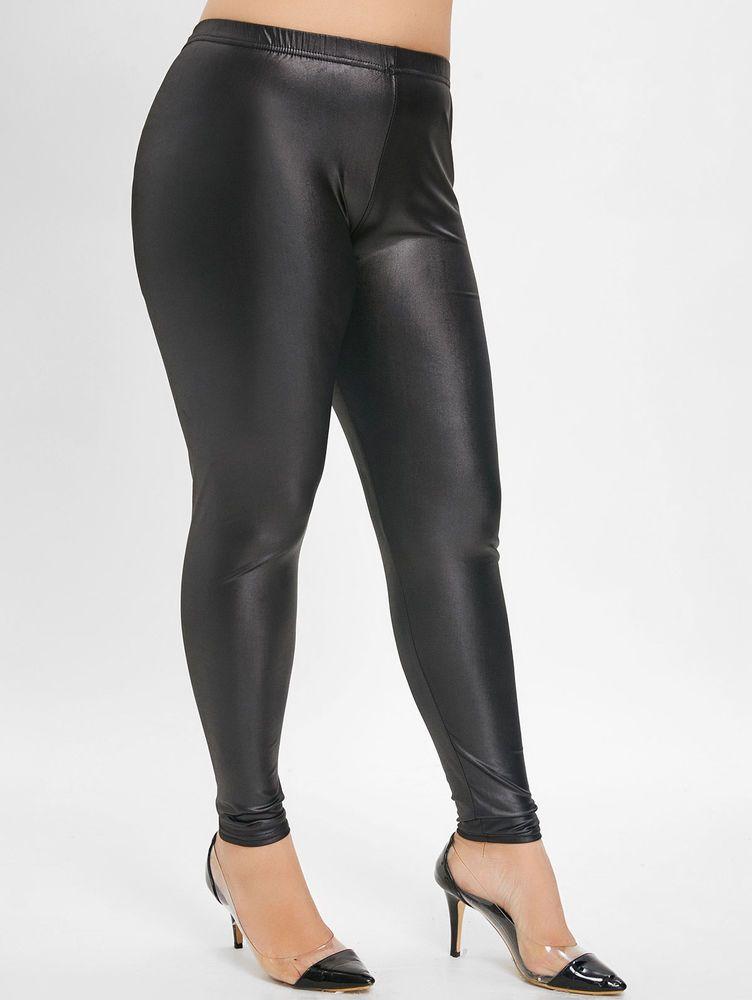 e5a207990def28 Womens High Waist Leggings Mat Wet Look Latex Faux Imitation Leather Full  Length #fashion #