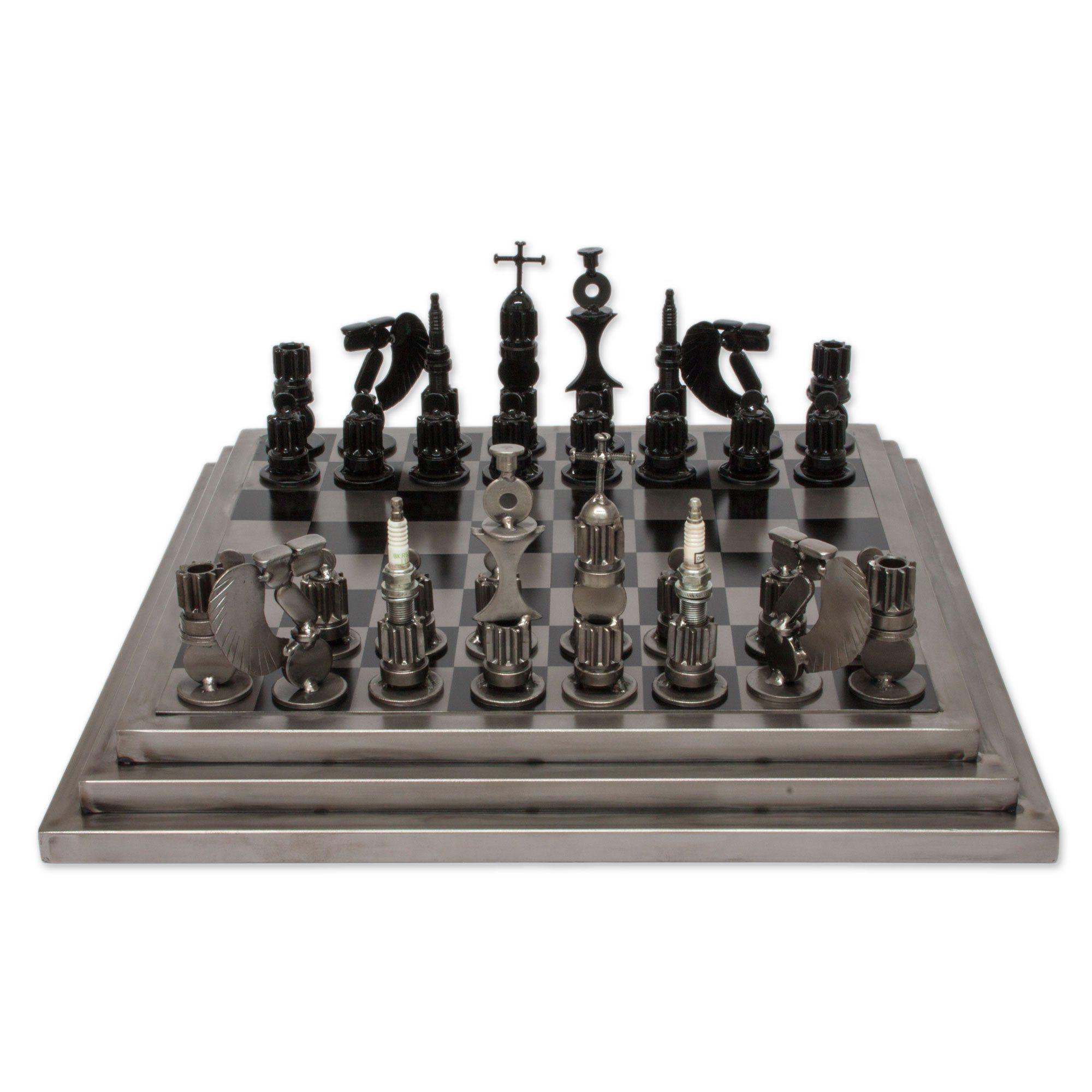 Steel Chess Set Novica Rustic Steel Chess Set Metallic 'rustic Warriors'  Home