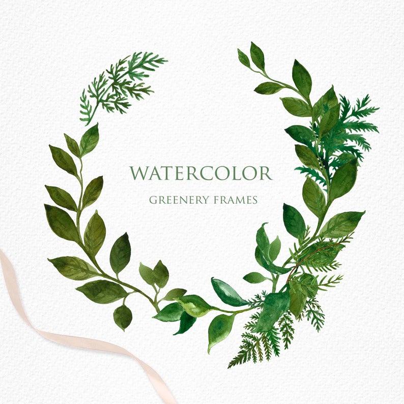 Watercolor Greenery Frame Clipart Frames Borders Png Foliage Etsy In 2021 Clip Art Frames Borders Logo Design Diy Frame Clipart
