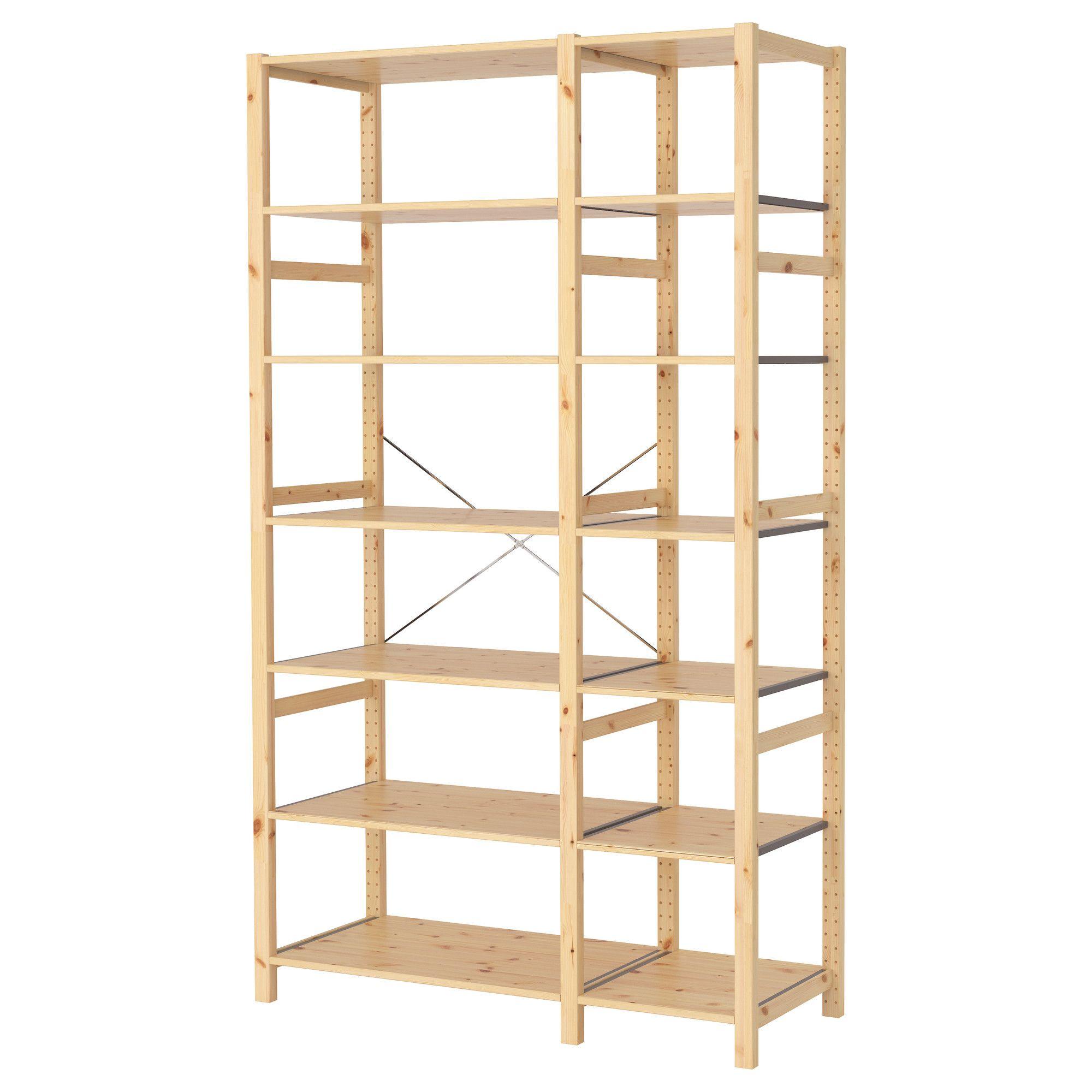 Ikea Kellerregal ivar 2 section shelving unit pine shelving storage ideas and room