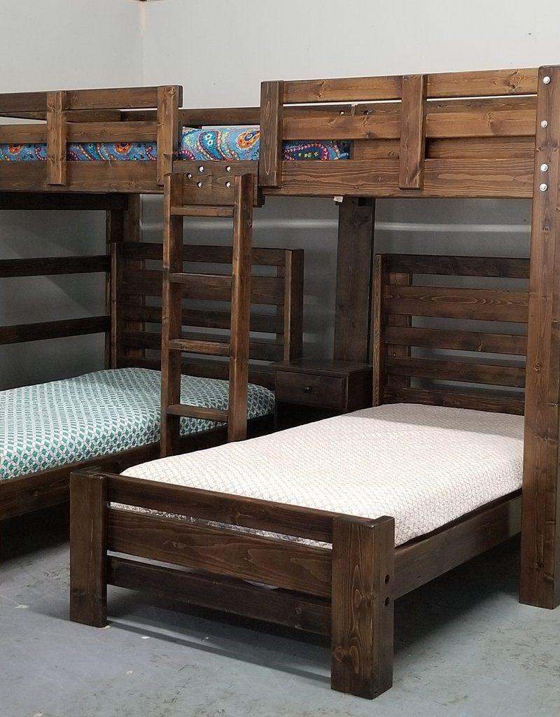 Hat Trick Triple Bunk W 2 Plank Beds Diy Bunk Bed Triple Bunk