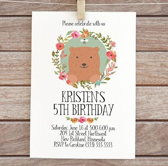 printable woodland birthday invitation bear Floral digital invite