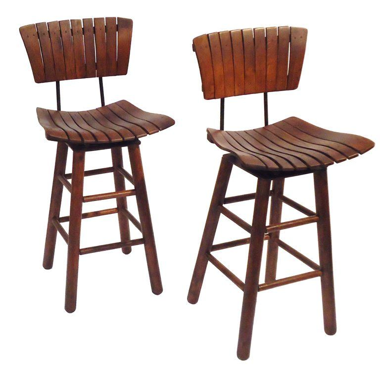Pair Of Rustic Swivel Bar Stools With Backs | From a unique collection of antique and modern stools at https://www.1stdibs.com/furniture/seating/stools/