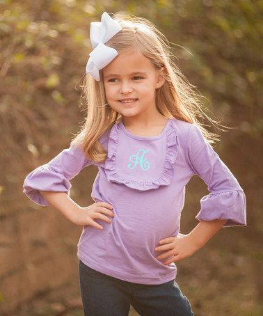 Another great find on #zulily! Lavender Initial Ruffle Tee - Infant, Toddler & Girls #zulilyfinds