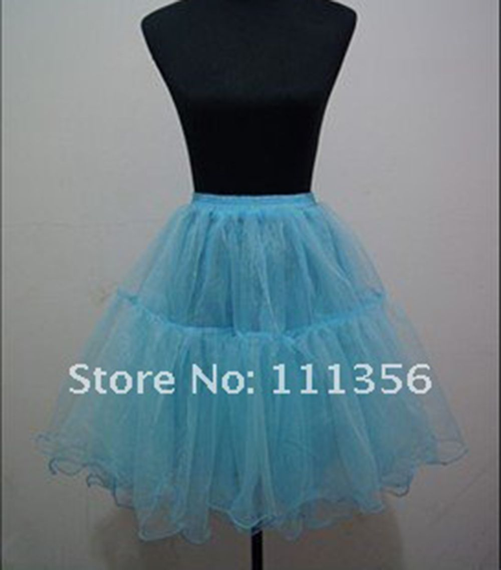 Click to Buy << Sky Blue Yellow Red Knee Length Petticoat Bride Slip ...