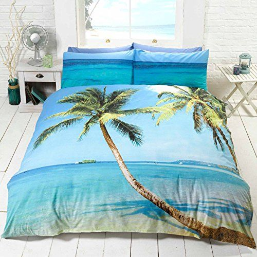 Palm Tree Beach Double Us Full Duvet Cover And Pillowcase Set Beachfront Decor Coastal Bedroom Decorating Tropical Bedrooms Beach Themed Bedding Sets