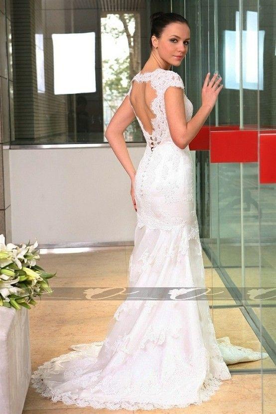 Sexy open back lace wedding dress