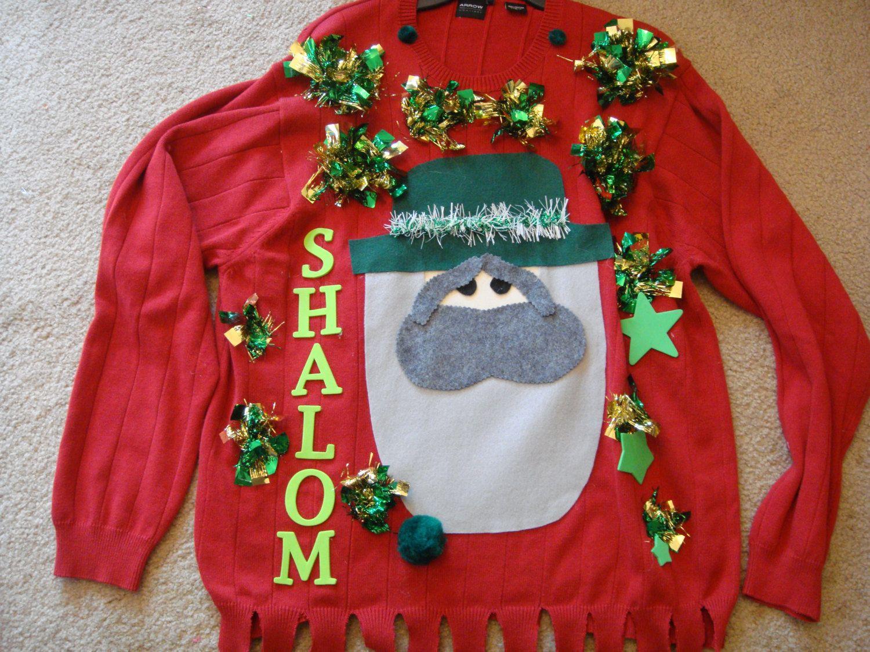 dEb\'s shalom ugly christmas sweater jewish amish man\'s large XL ...