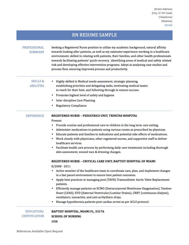 Registered Nurse Resume Samples and Templates (With images