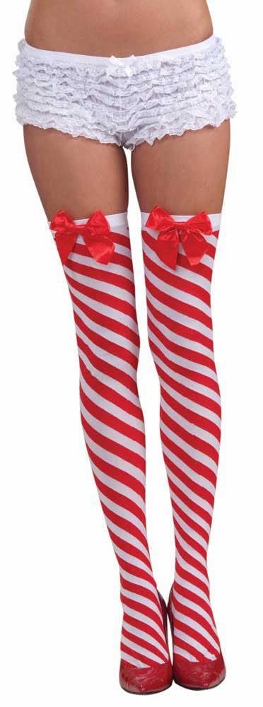 9bb60c302 Women s Christmas Candy Cane Stockings  7.99 red white biased striped thigh  high stockings with a red bow at the top. womens one size.