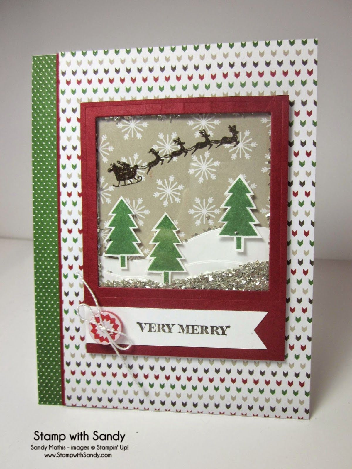 Stamp with sandy very merry shaker card pp u mm cards and