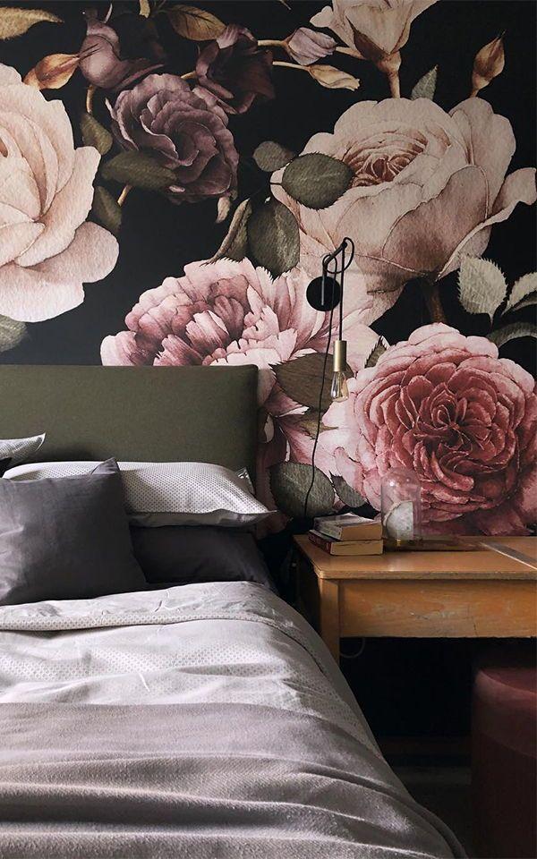 Purple Pink Dark Floral Wallpaper Mural Mural Wallpaper Floral Wallpaper Home Wallpaper