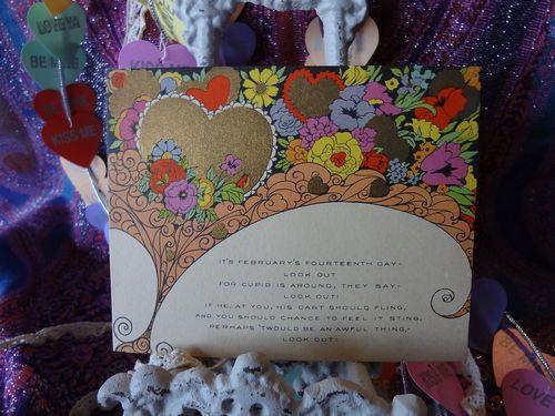 Art Nouveau Carrington Single Side Valentine Bright Florals Gold Hearts  5X4 - A