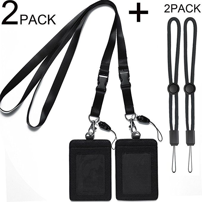f3d3bff2fdeb 2 Pack Badge Holders Leather+2 Pack Neck Lanyards,Quick Release ...