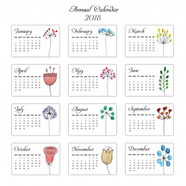 Aquarell Hand Gezeichneter Blumenkalender    Free Printable