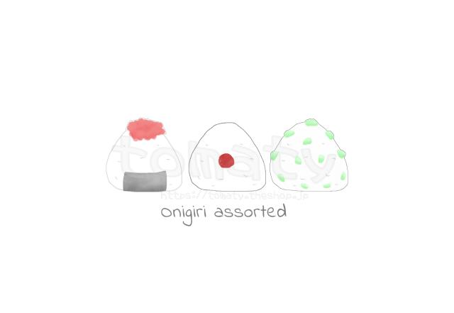 5種類の可愛いおにぎり ポストカードハガキ イラスト Tomaty