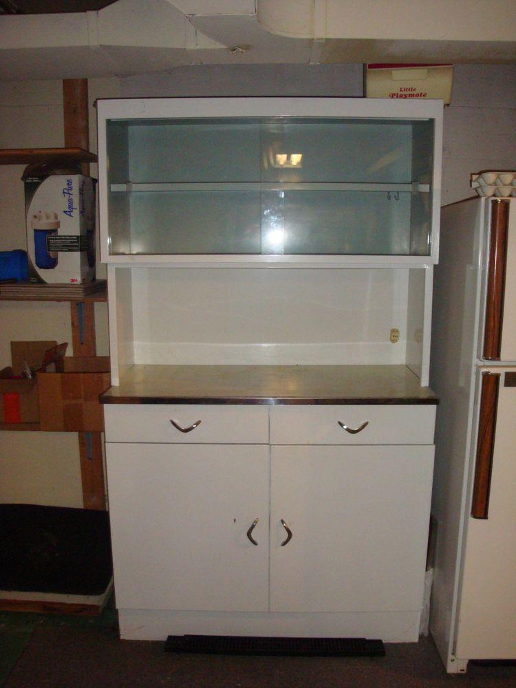 Vintage Retro White Metal Kitchen Cabinet Storage Cupboard ...