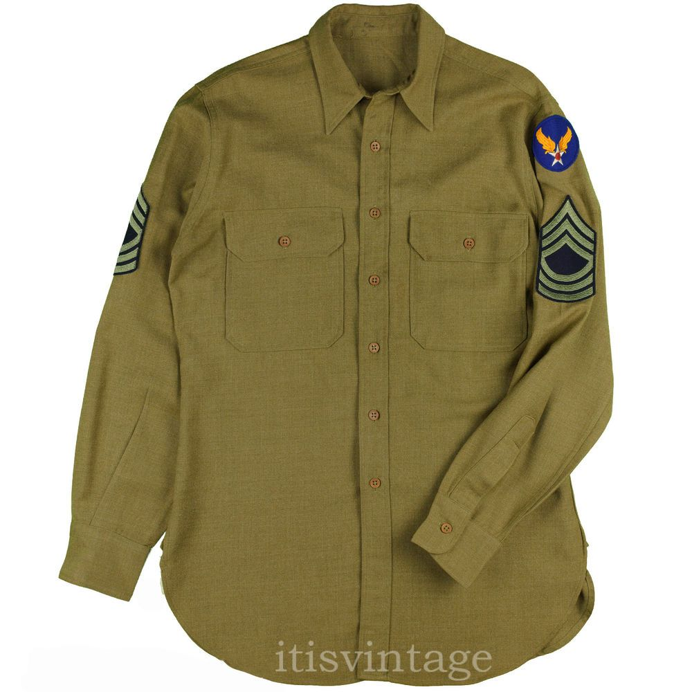 2bbb3ff36a18 WW2 Shirt 1942 Vintage Master Sergeant Uniform Hap Arnold Patch Army Air  Force  army  airforce  worldwar2  ww2  itisvintage  military  patches