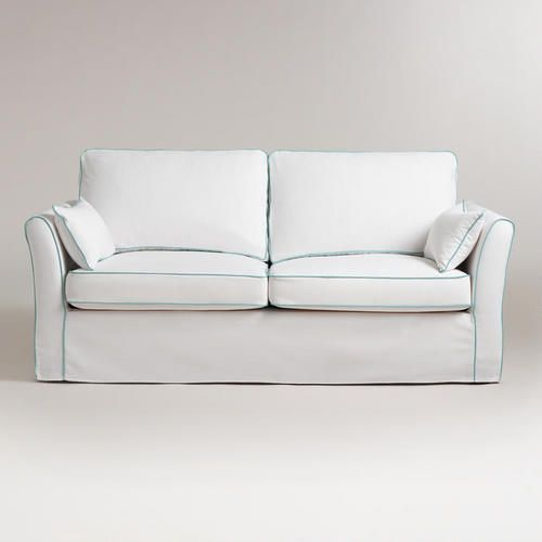 Magnificent White And Blue Luxe Sofa Slipcover World Market Harbor Pabps2019 Chair Design Images Pabps2019Com