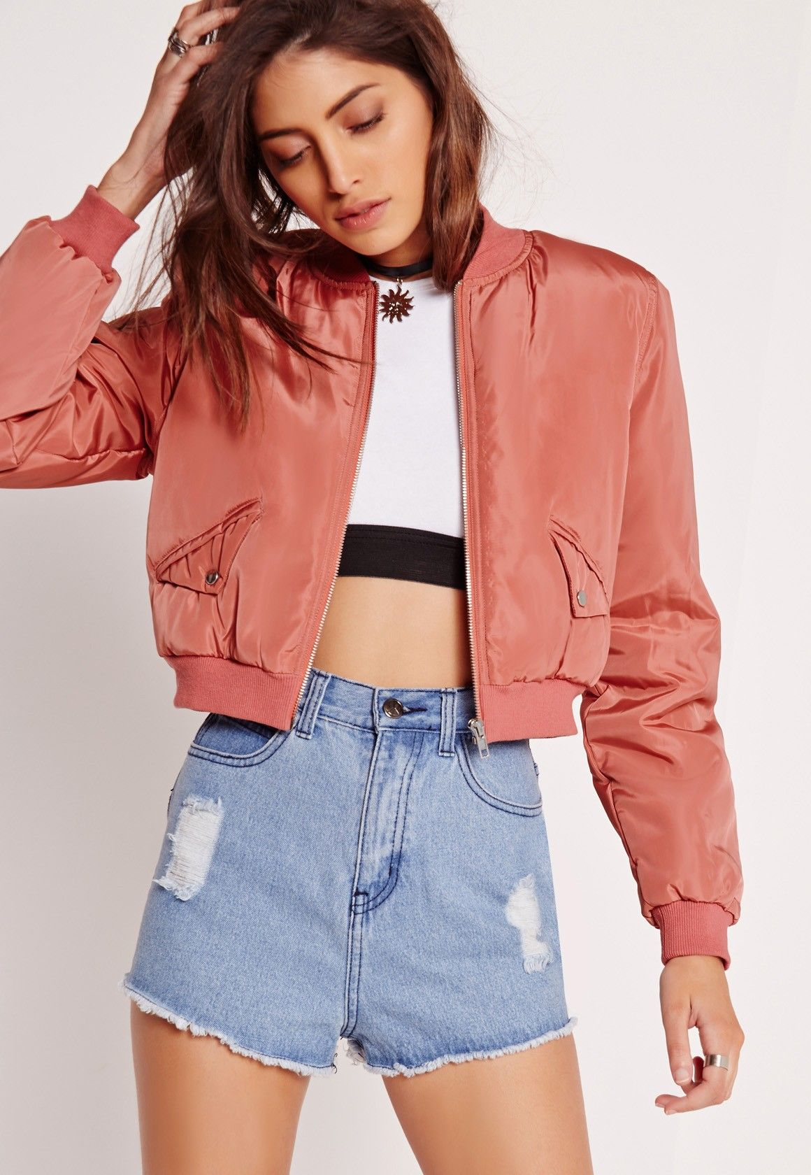 4e0874b9d24e Missguided - Cropped Bomber Jacket Pink