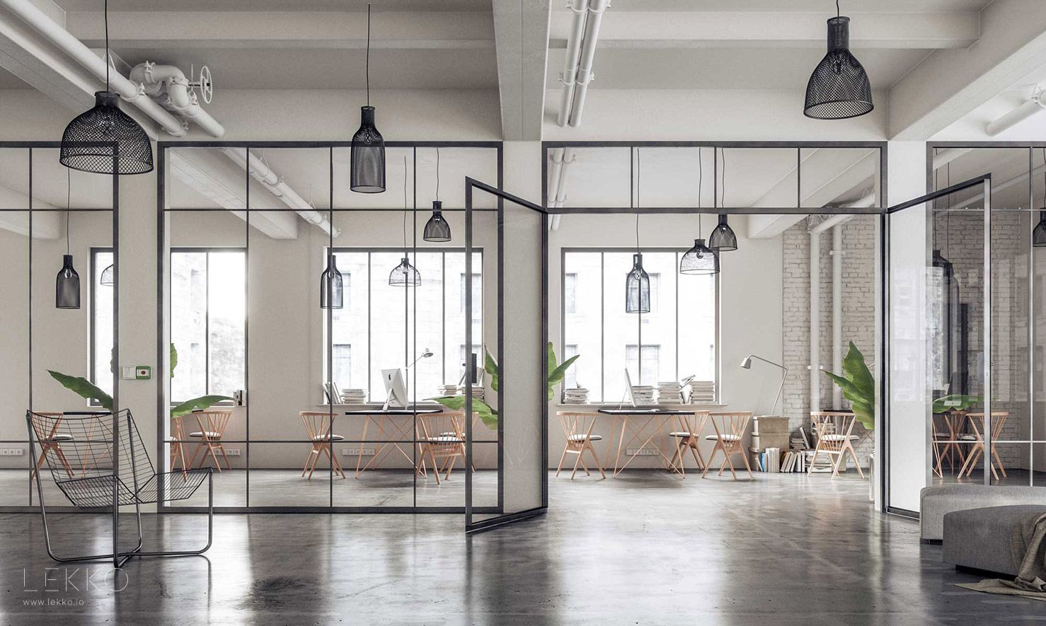 Sciana Miedzy Salonem A Kuchnia Space Interiors Home Industrial Office