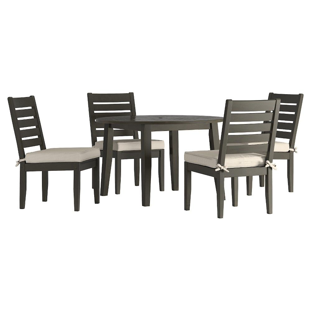 Parkview 5pc Round Wood Patio Dining Set With Side Chairs And Cushions Grey Beige Inspire Q Brown